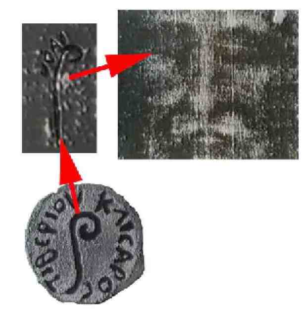 Coins on Jesus eyes with letters